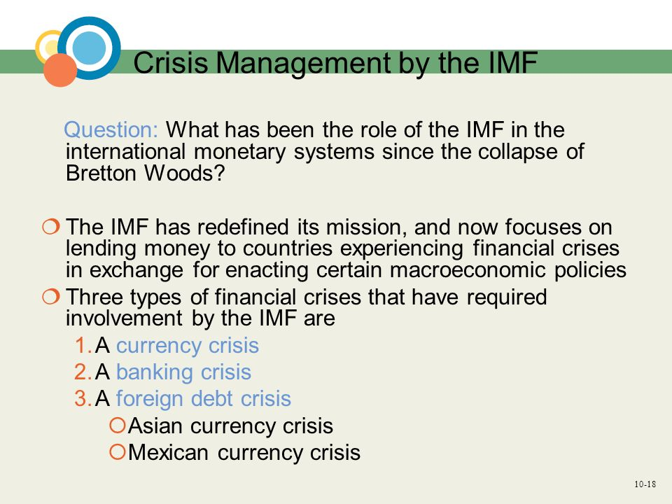Crisis Management by the IMF