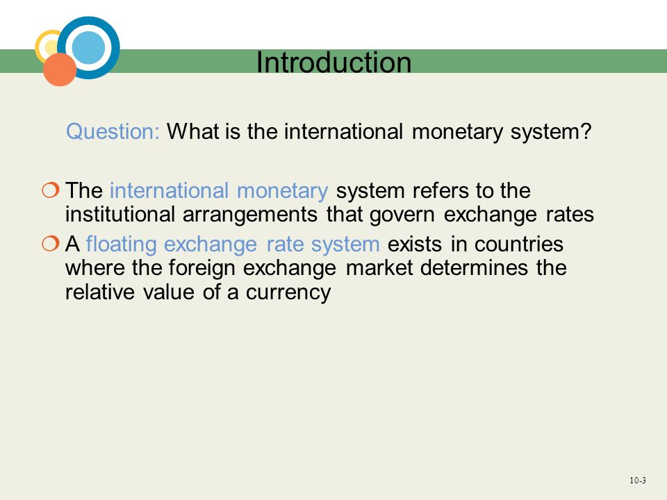 Introduction Question: What is the international monetary system