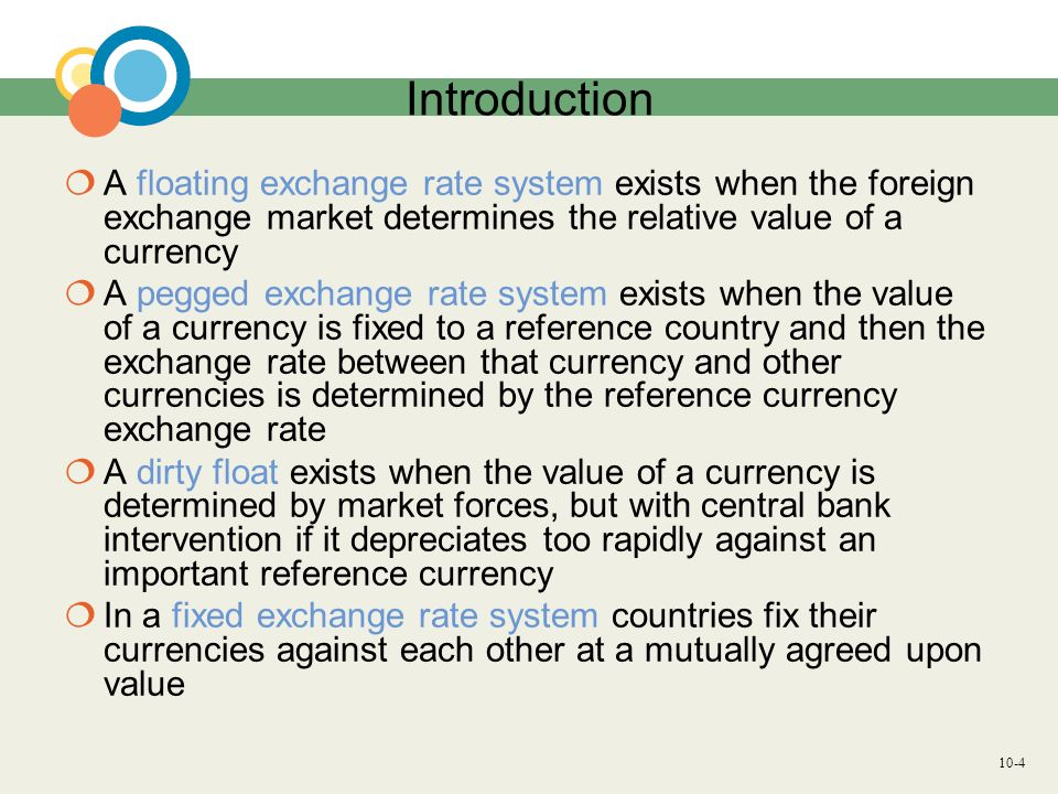 Introduction A floating exchange rate system exists when the foreign exchange market determines the relative value of a currency.