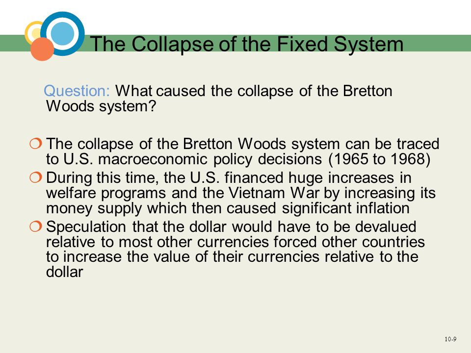 the collapse of the bretton woods The fortieth anniversary this week of the end of the bretton woods system coincides with a time of turmoil for the world economy and international monetary system like today, in 1971 the world's most developed countries had been stuck for months, unable to resolve their differences and move back .