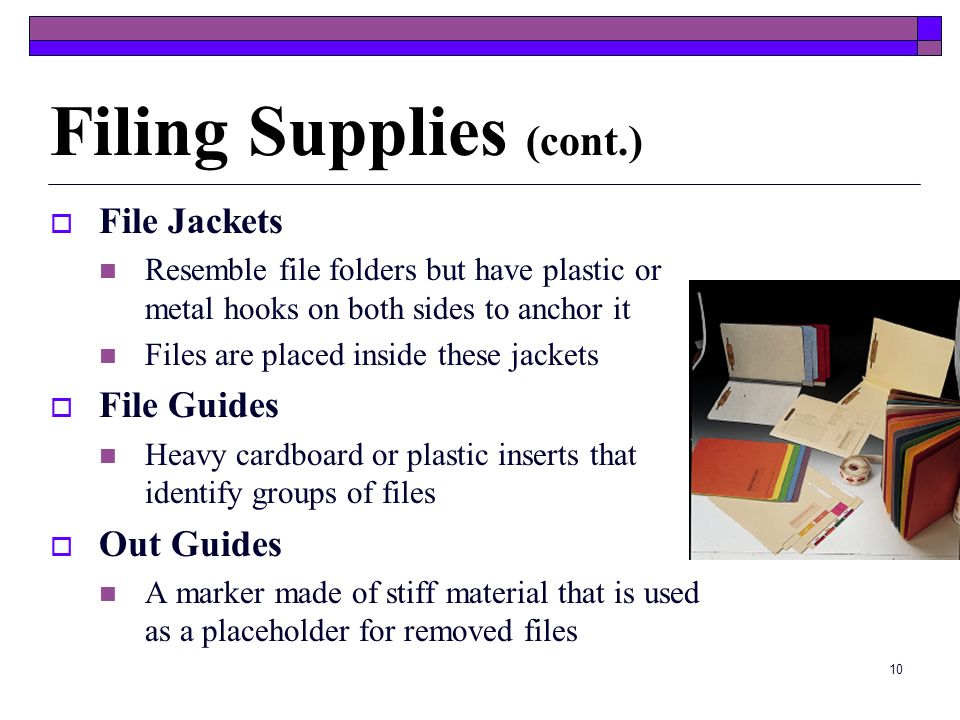 Filing Supplies (cont.)