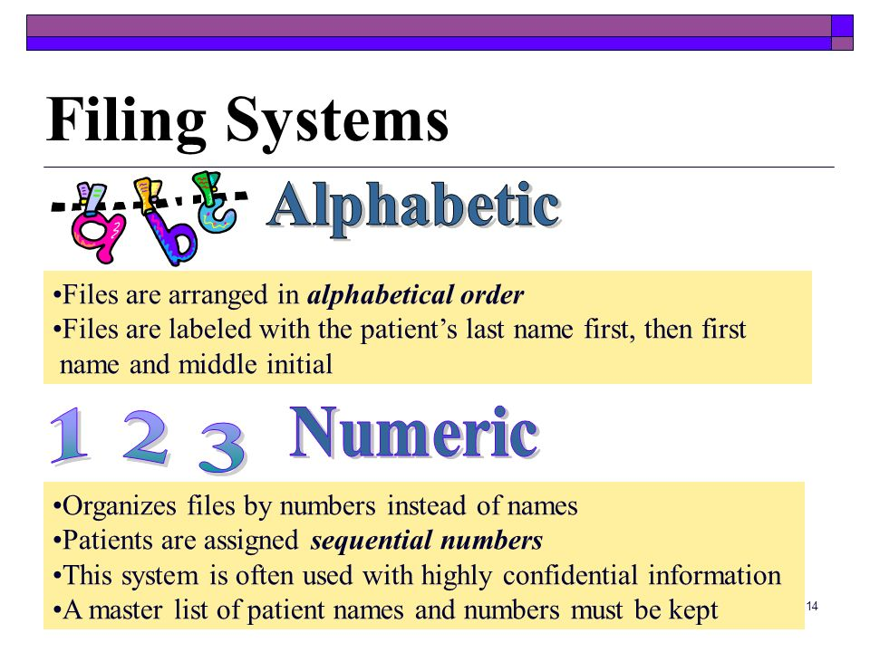 Filing Systems Alphabetic 1 2 3 Numeric
