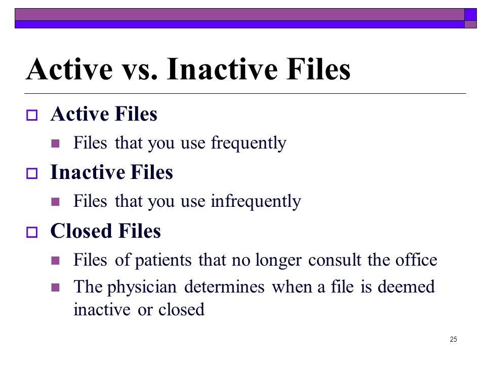 Active vs. Inactive Files