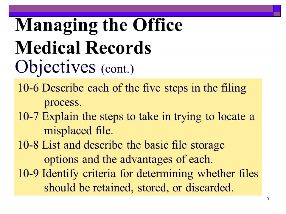 Managing the Office Medical Records