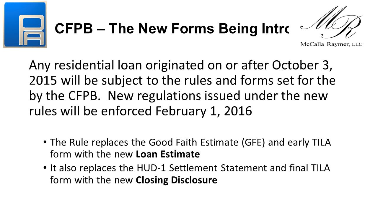 CFPB U2013 The New Forms Being Introduced