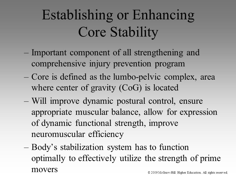 Establishing or Enhancing Core Stability