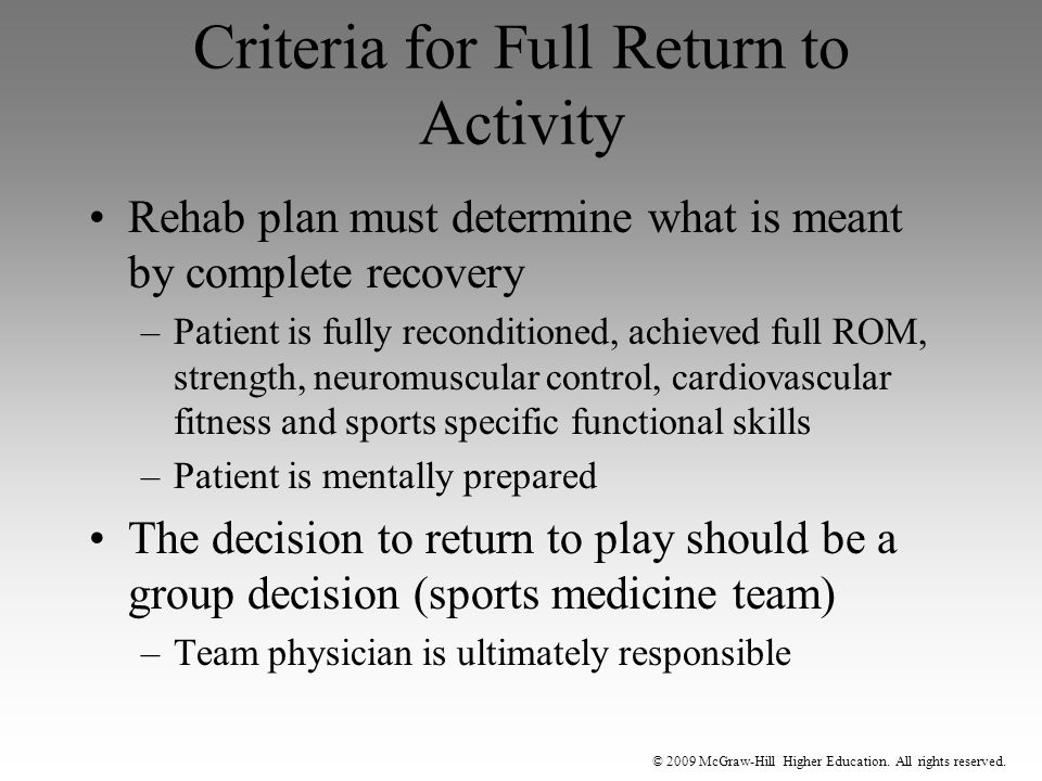 Criteria for Full Return to Activity