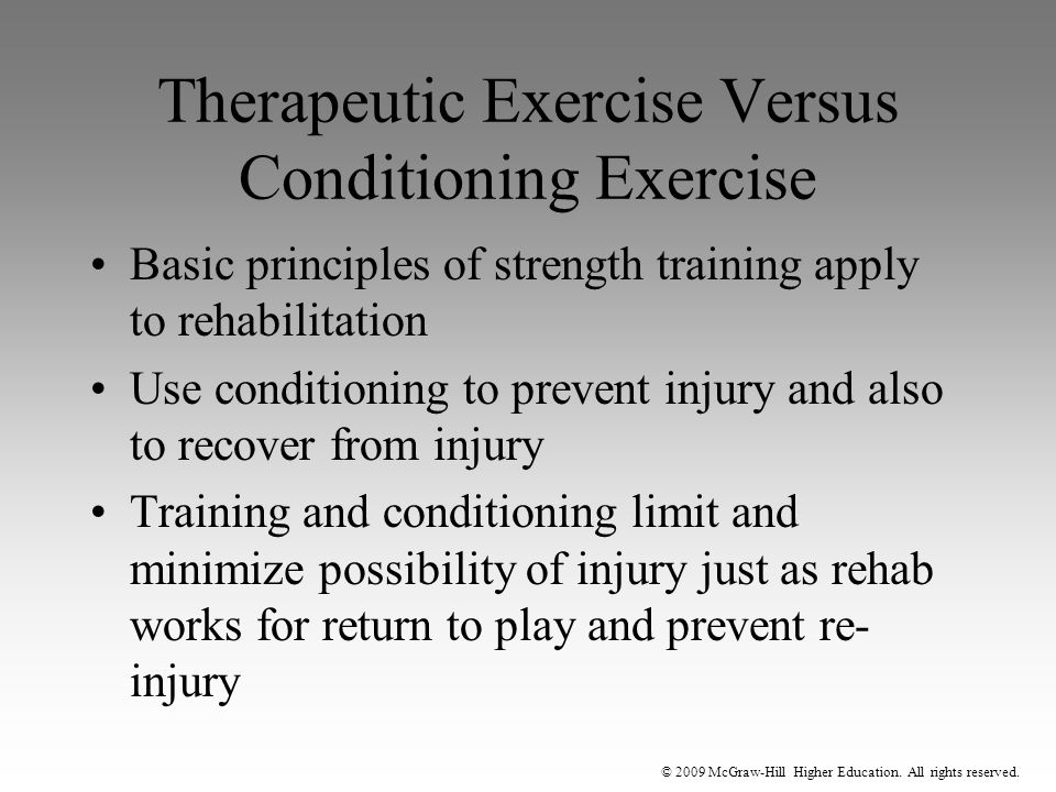 Therapeutic Exercise Versus Conditioning Exercise