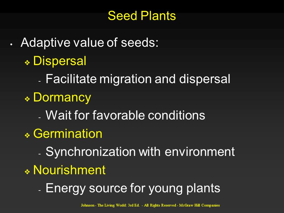 Adaptive value of seeds: Dispersal Facilitate migration and dispersal