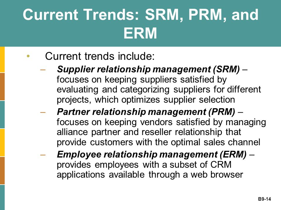Current Trends: SRM, PRM, and ERM
