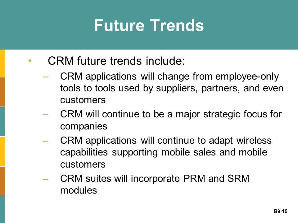 Future Trends CRM future trends include: