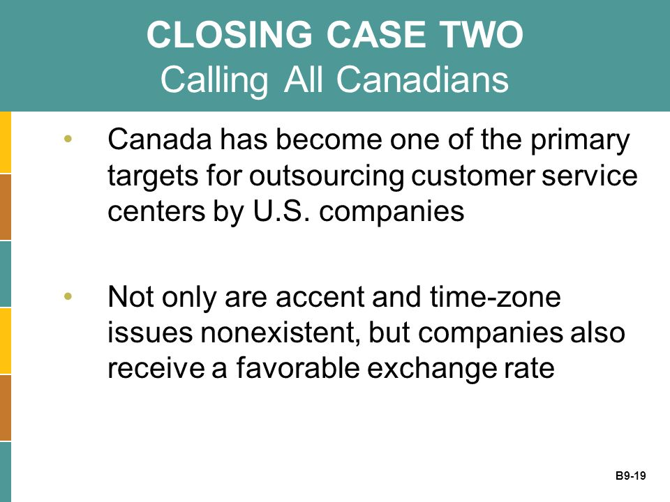 CLOSING CASE TWO Calling All Canadians