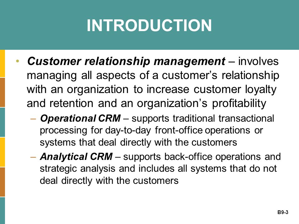 customer profitability and relationship management