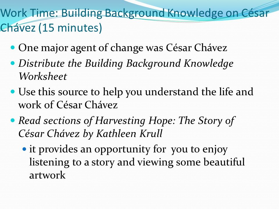 Building Background Knowledge Planning The Two Voice Poem ppt – Cesar Chavez Worksheet
