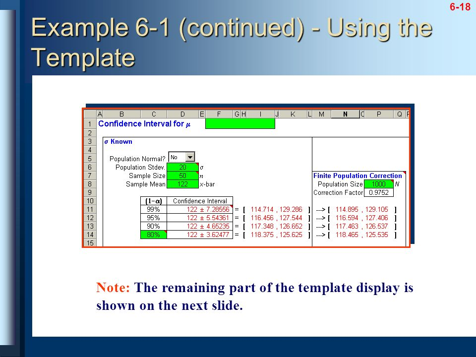Example 6-1 (continued) - Using the Template