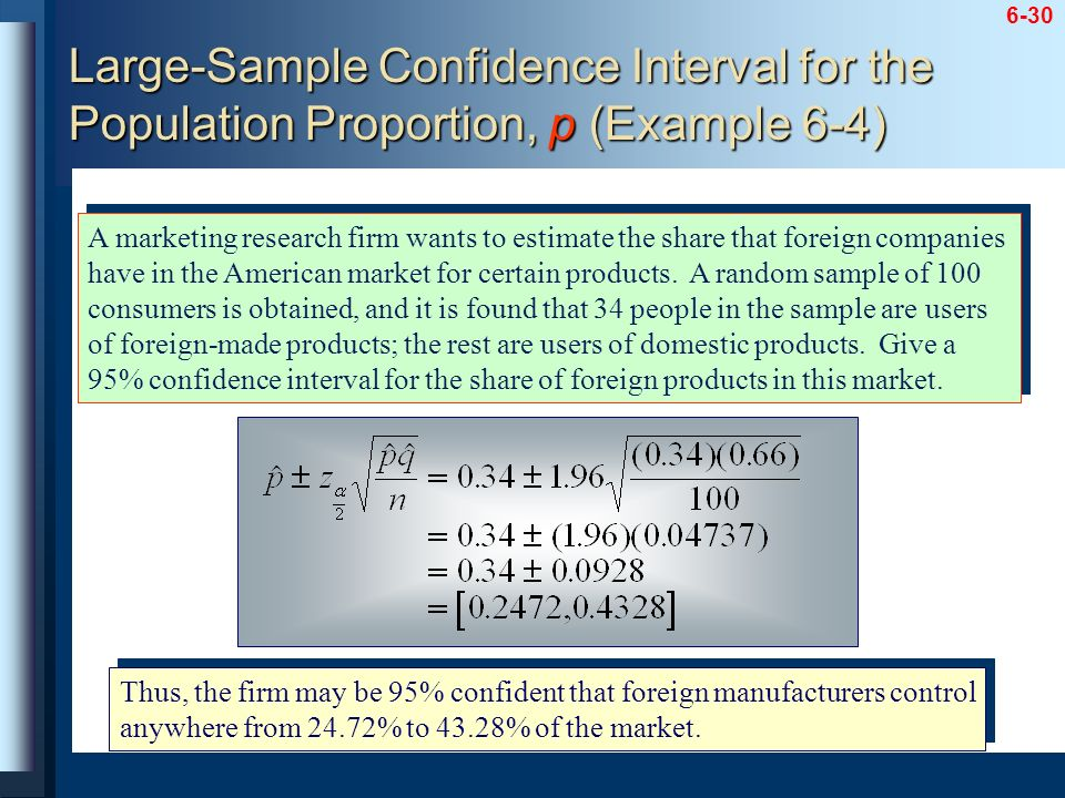 Large-Sample Confidence Interval for the Population Proportion, p (Example 6-4)