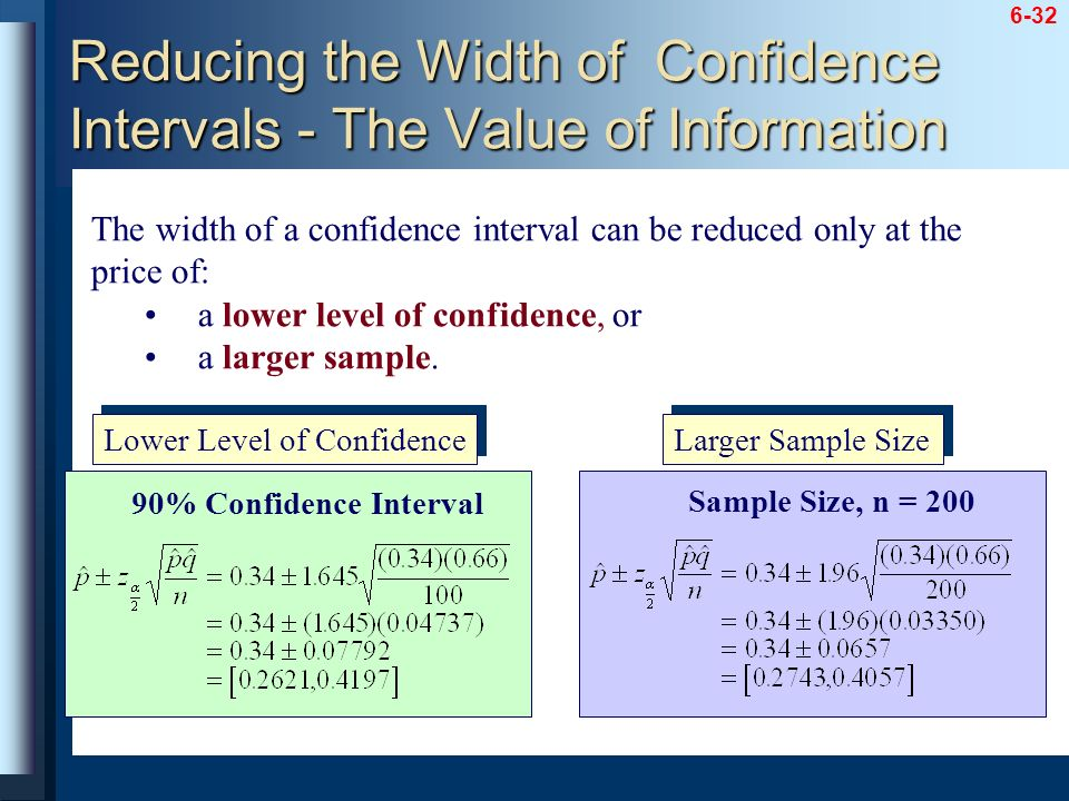 Reducing the Width of Confidence Intervals - The Value of Information