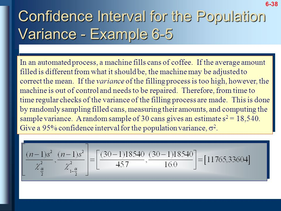 Confidence Interval for the Population Variance - Example 6-5