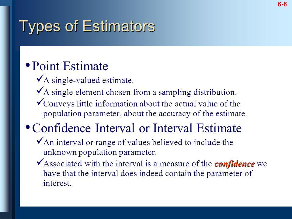 Types of Estimators Point Estimate