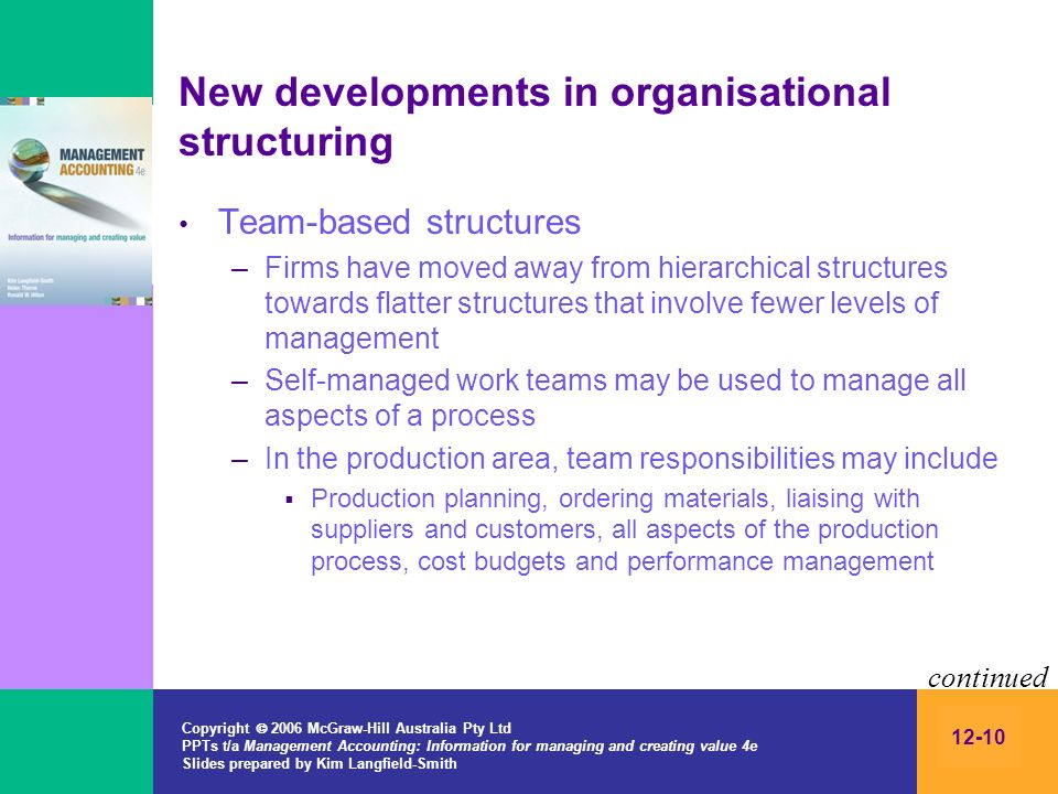 New developments in organisational structuring