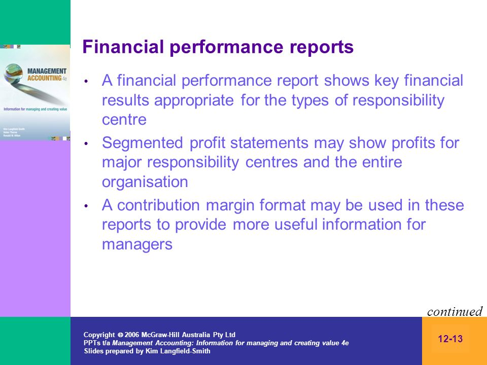 Financial performance reports