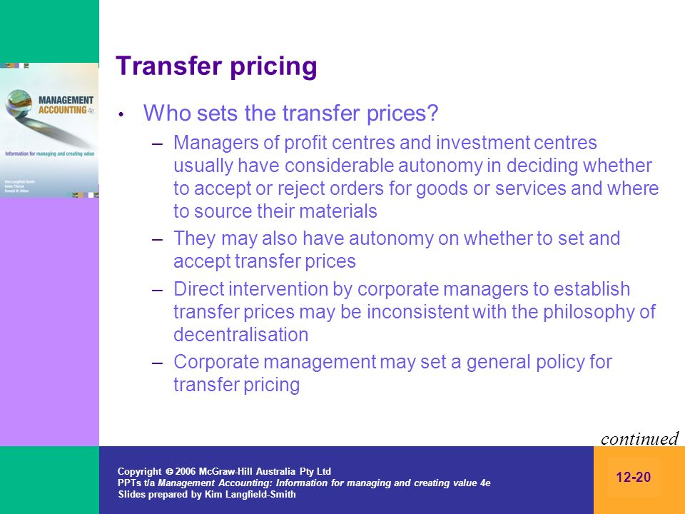 Transfer pricing Who sets the transfer prices