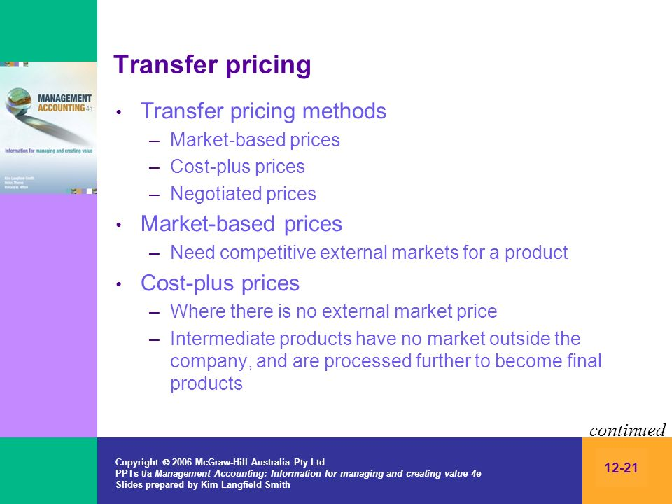 Transfer pricing Transfer pricing methods Market-based prices