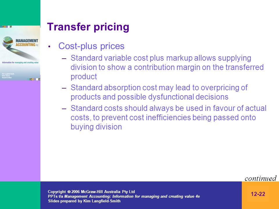 Transfer pricing Cost-plus prices
