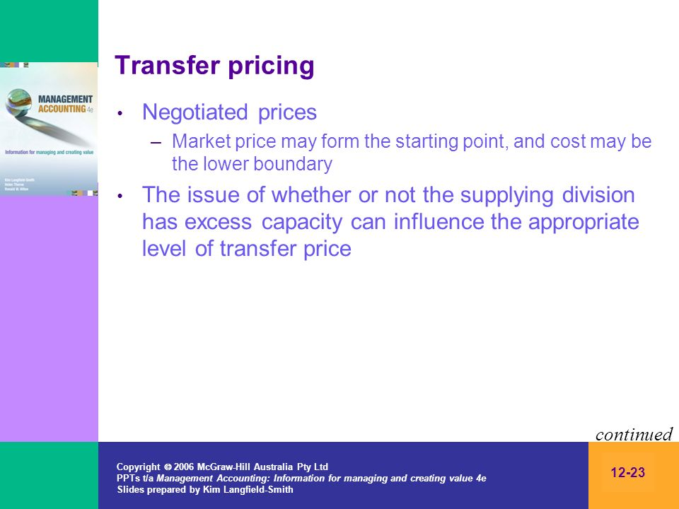 Transfer pricing Negotiated prices