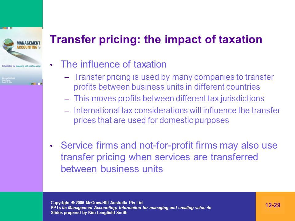 Transfer pricing: the impact of taxation