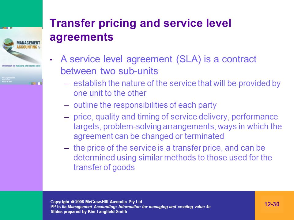 Transfer pricing and service level agreements