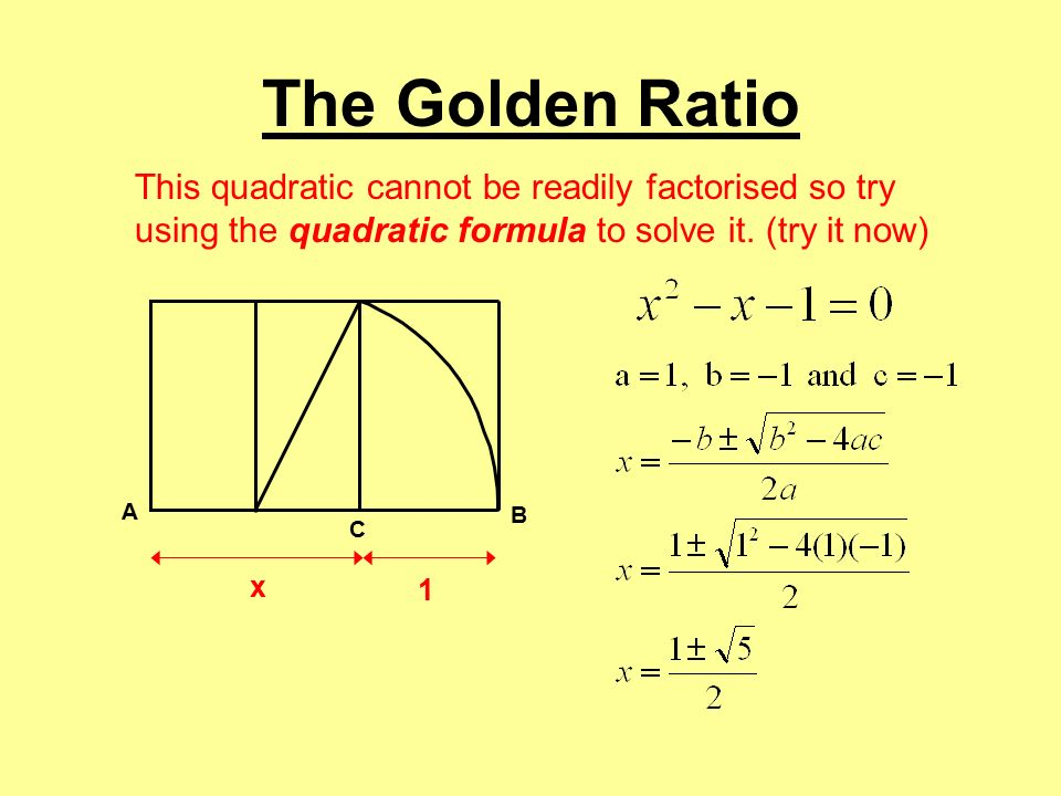 The golden ratio begin by drawing a square with sides of 10cm 10 the golden ratio this quadratic cannot be readily factorised so try using the quadratic formula to publicscrutiny Choice Image
