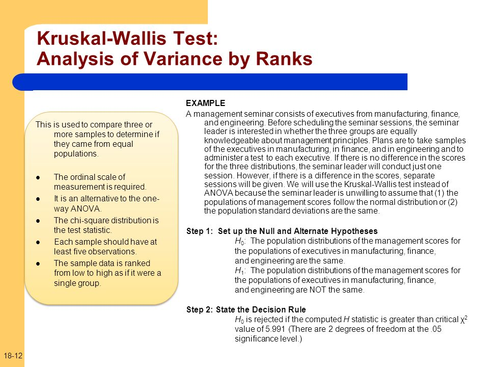 Kruskal-Wallis Test: Analysis of Variance by Ranks