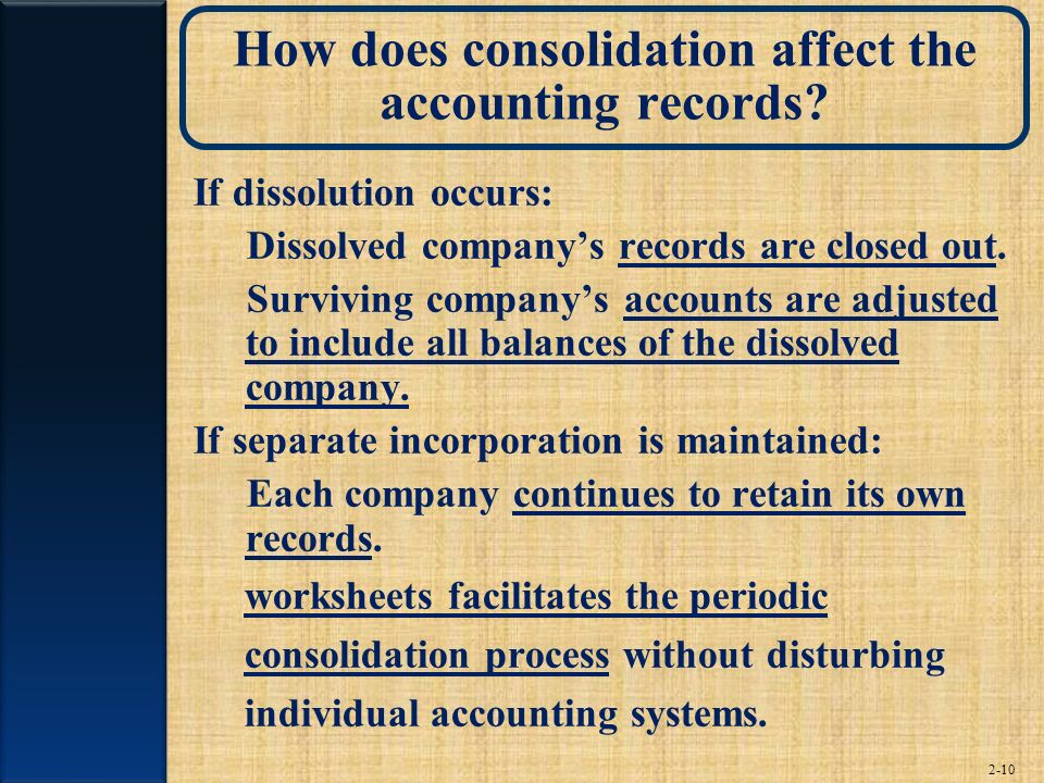 How does consolidation affect the accounting records