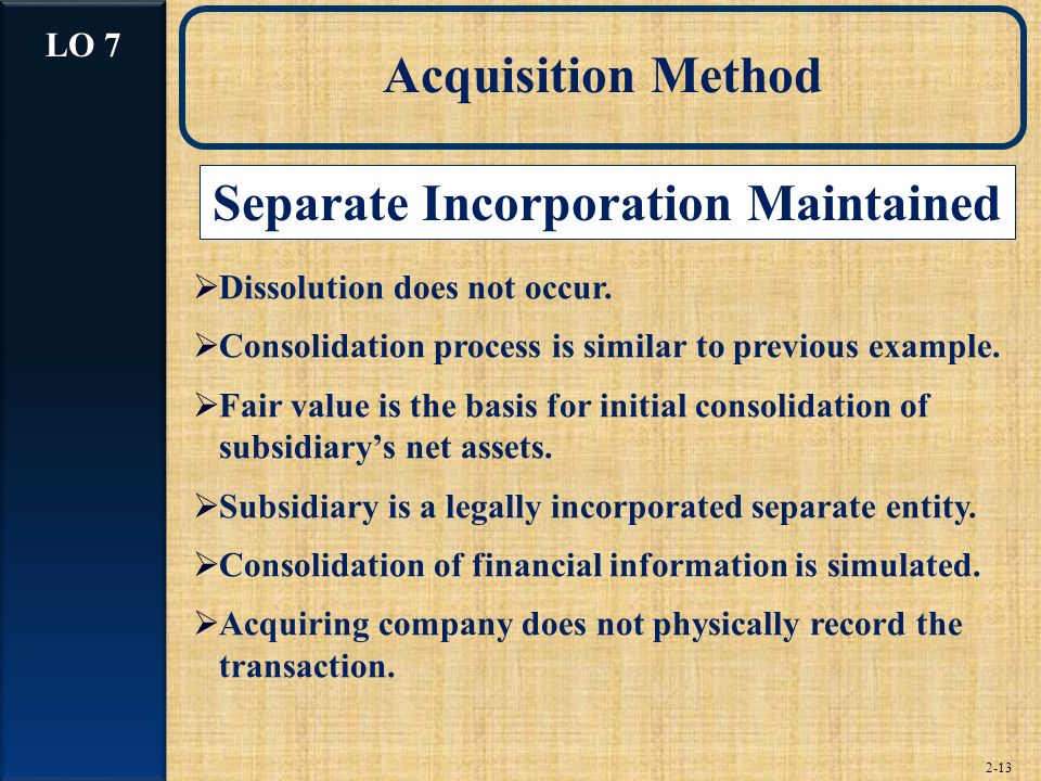Separate Incorporation Maintained