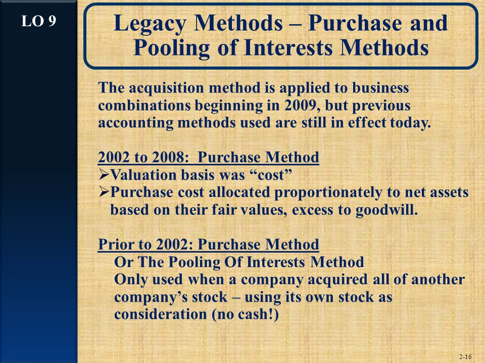 Legacy Methods – Purchase and Pooling of Interests Methods