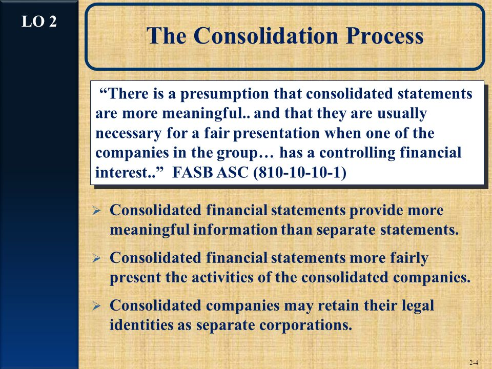 The Consolidation Process