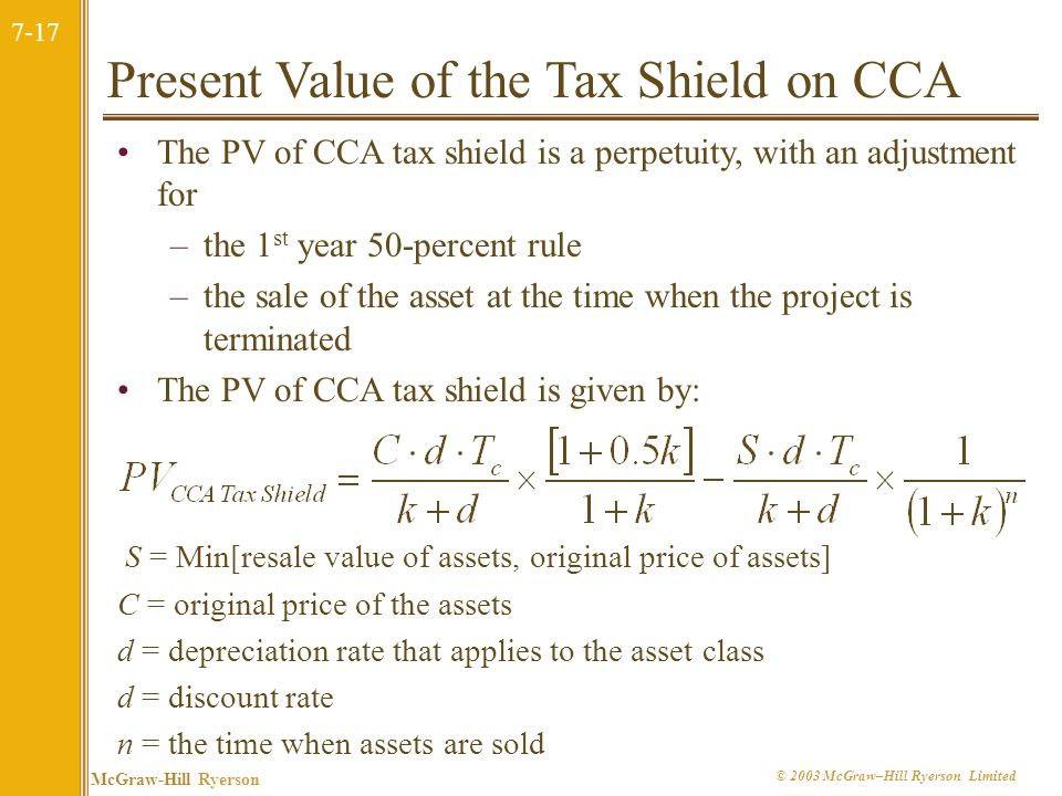 Present Value of the Tax Shield on CCA