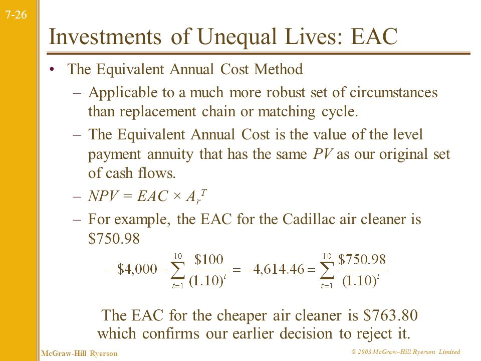 Investments of Unequal Lives: EAC