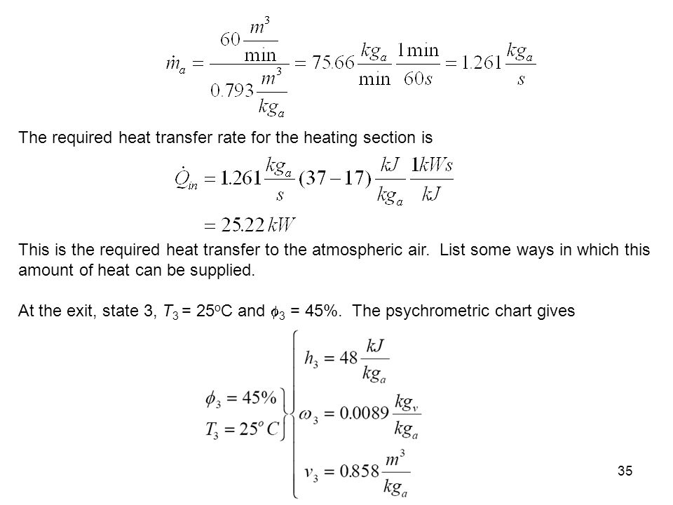 The required heat transfer rate for the heating section is