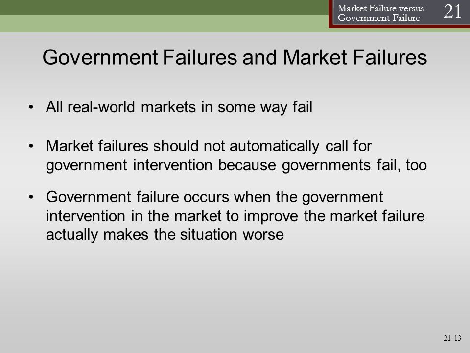 Government Failures and Market Failures