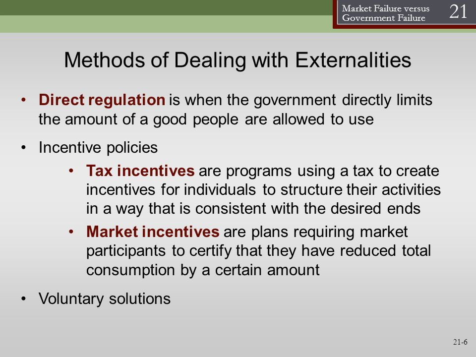 Methods of Dealing with Externalities