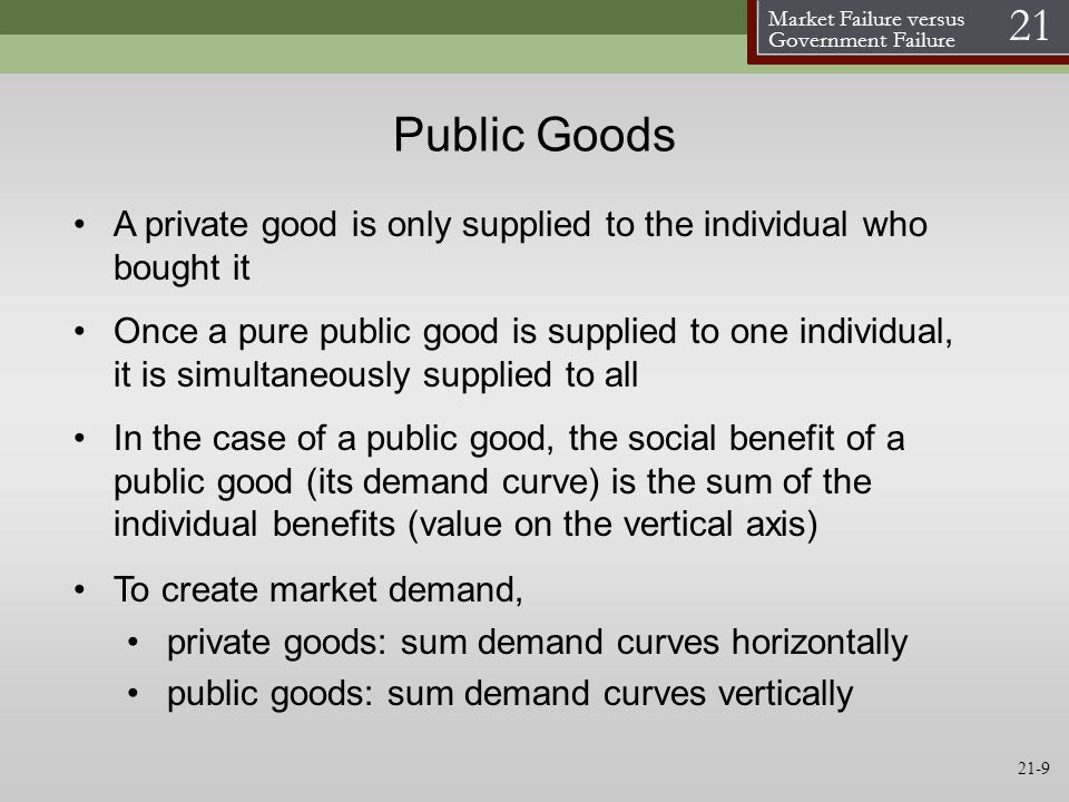 Public Goods A private good is only supplied to the individual who bought it.