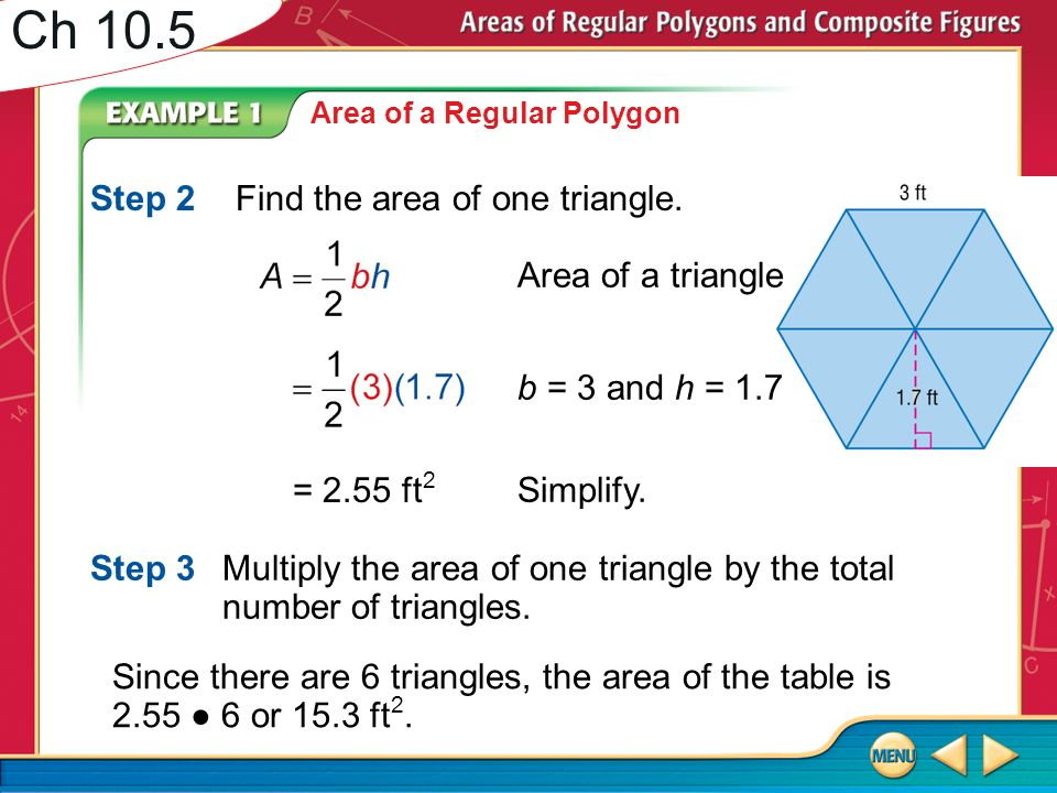 Ch 105 find the area of the figure round to the nearest tenth if ch 105 step 2 find the area of one triangle area of a triangle ccuart Choice Image