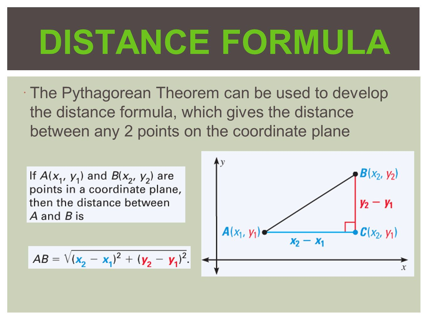 distance formula Learn what the slope of a line is and how to find it calculate the distance between  two points using the distance formula use the midpoint.