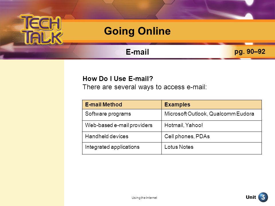 Going Online E-mail pg. 90–92 How Do I Use E-mail