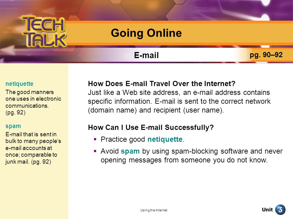 Going Online E-mail pg. 90–92
