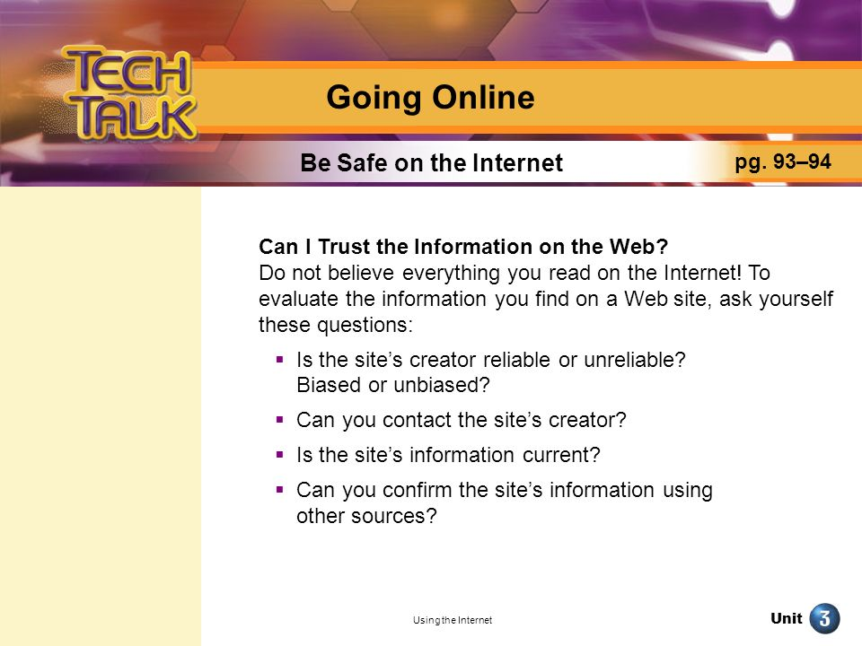 Going Online Be Safe on the Internet pg. 93–94