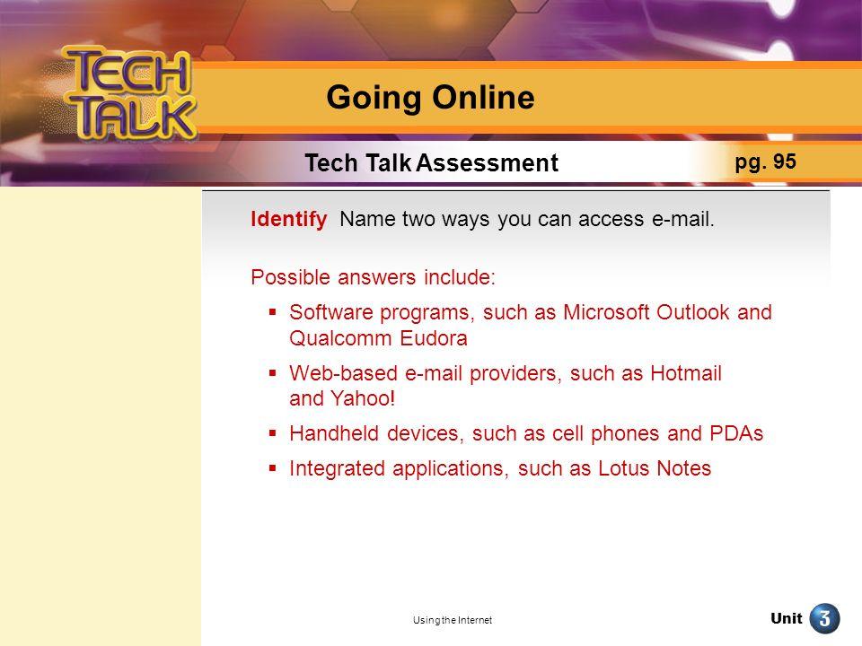 Going Online Tech Talk Assessment pg. 95