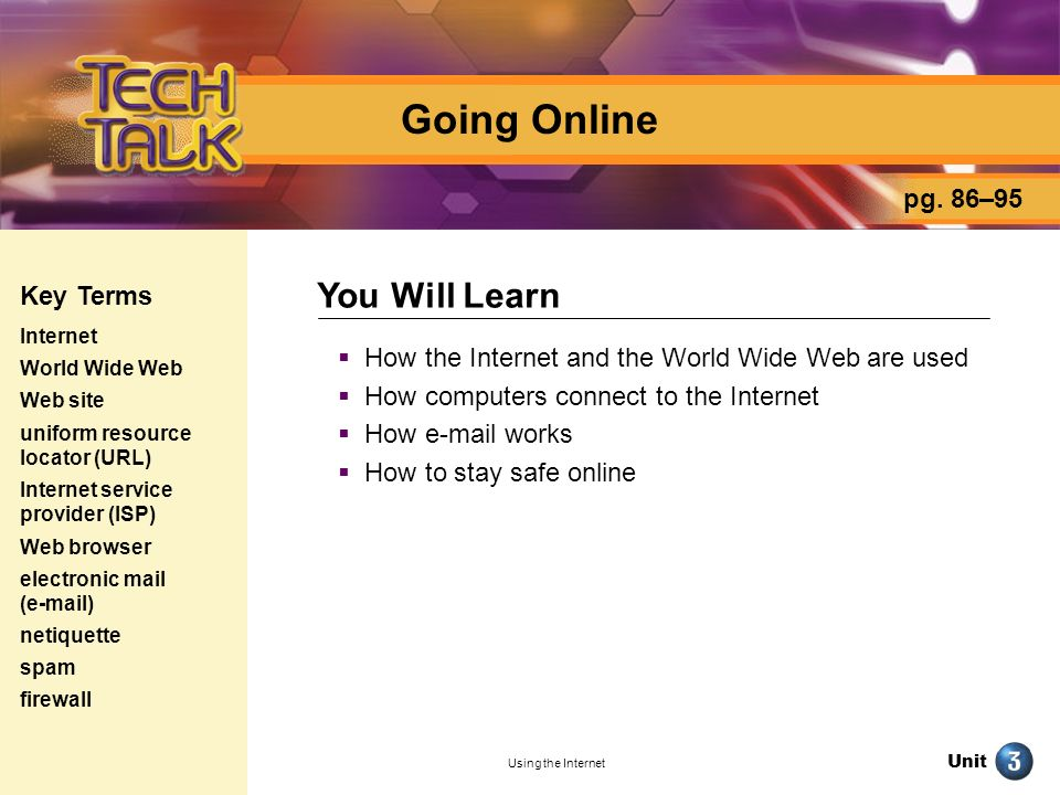Going Online You Will Learn pg. 86–95 Key Terms
